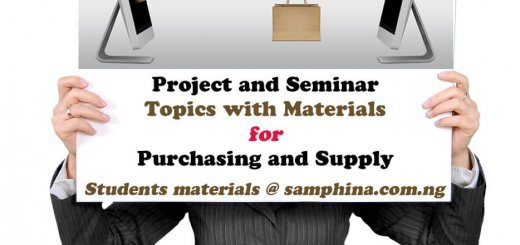 Project and Seminar Topics with Materials for Purchasing and Supply PS