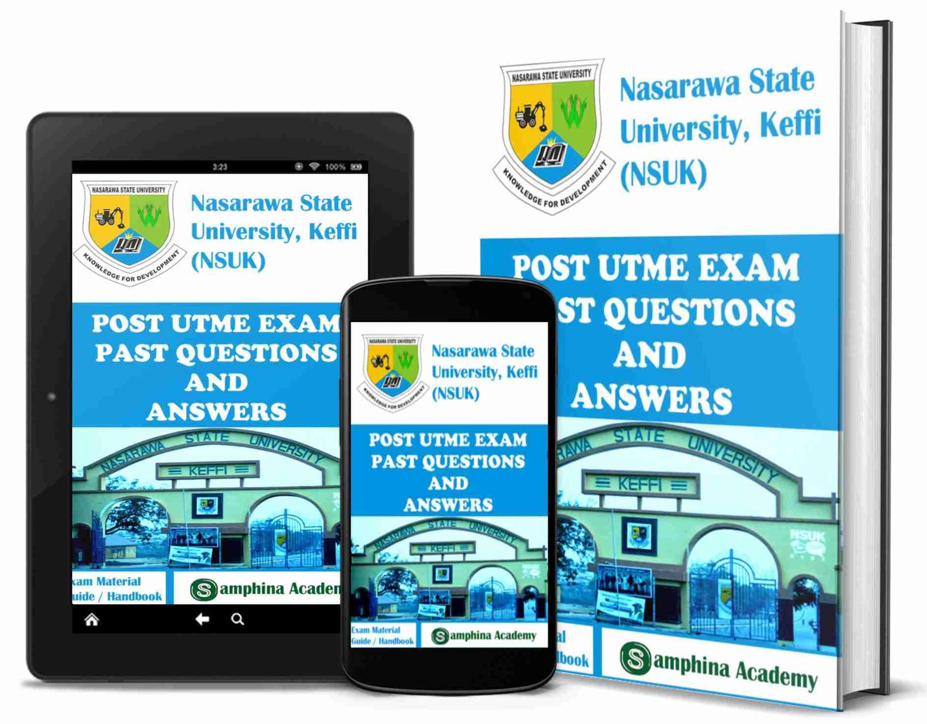 NSUK - Nasarawa State University, Keffi Post UTME Screening Examination Past Questions and Answers