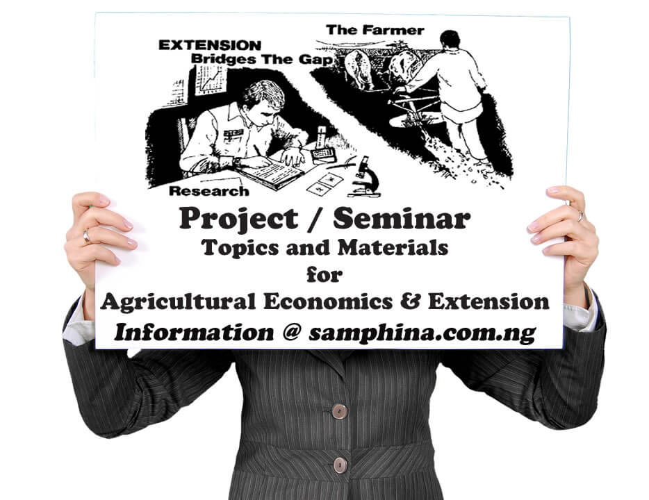 Project and Seminar Topics with Materials for Agricultural Economics and Extension