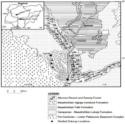 Figure 1 Geologic map of Southern Bida basin showing (Ojo, 2009).