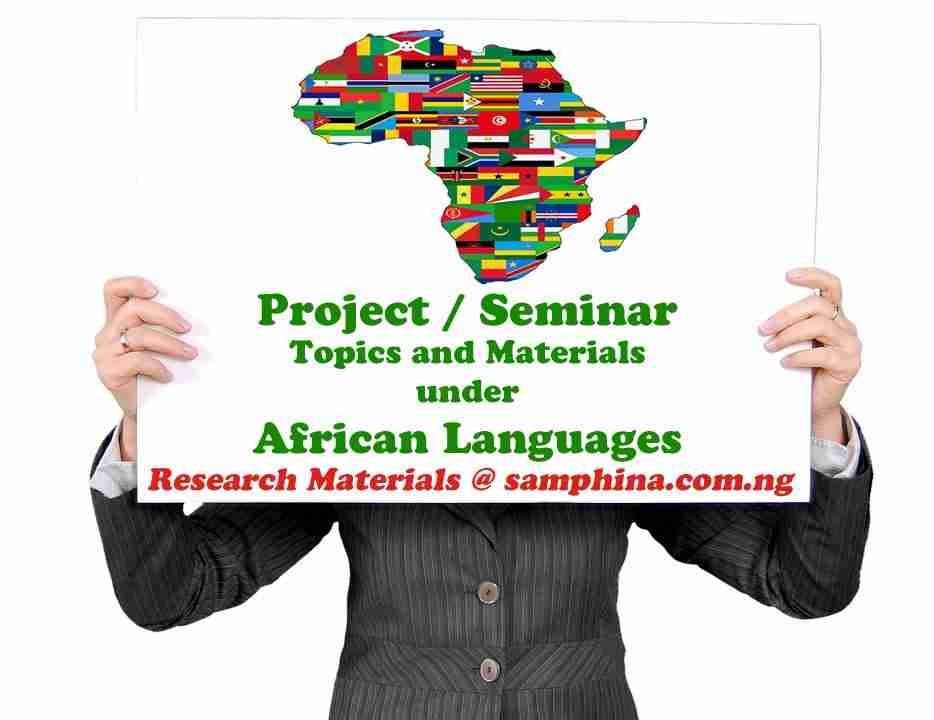 Project and Seminar Topics with Materials for African Languages