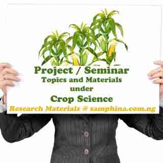 Project and Seminar Topics with Materials for Crop Science